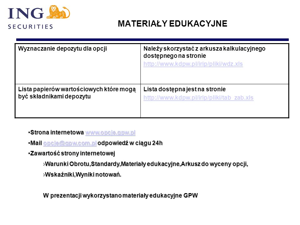 MATERIAŁY EDUKACYJNE Wyznaczanie depozytu dla opcjiNależy skorzystać z arkusza kalkulacyjnego dostępnego na stronie http://www.kdpw.pl/irip/pliki/wdz.xls Lista papierów wartościowych które mogą być składnikami depozytu Lista dostępna jest na stronie http://www.kdpw.pl/irip/pliki/tab_zab.xls Strona internetowa www.opcje.gpw.plStrona internetowa www.opcje.gpw.plwww.opcje.gpw.pl Mail opcje@gpw.com.pl odpowiedź w ciągu 24hMail opcje@gpw.com.pl odpowiedź w ciągu 24hopcje@gpw.com.pl Zawartość strony internetowejZawartość strony internetowej ›Warunki Obrotu,Standardy,Materiały edukacyjne,Arkusz do wyceny opcji, ›Wskaźniki,Wyniki notowań.