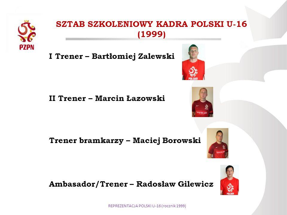 SZTAB SZKOLENIOWY KADRA POLSKI U-16 (1999) I Trener – Bartłomiej Zalewski II Trener – Marcin Łazowski Trener bramkarzy – Maciej Borowski Ambasador/Tre