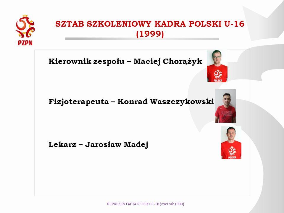 SZTAB SZKOLENIOWY KADRA POLSKI U-16 (1999) Kierownik zespołu – Maciej Chorążyk Fizjoterapeuta – Konrad Waszczykowski Lekarz – Jarosław Madej REPREZENT