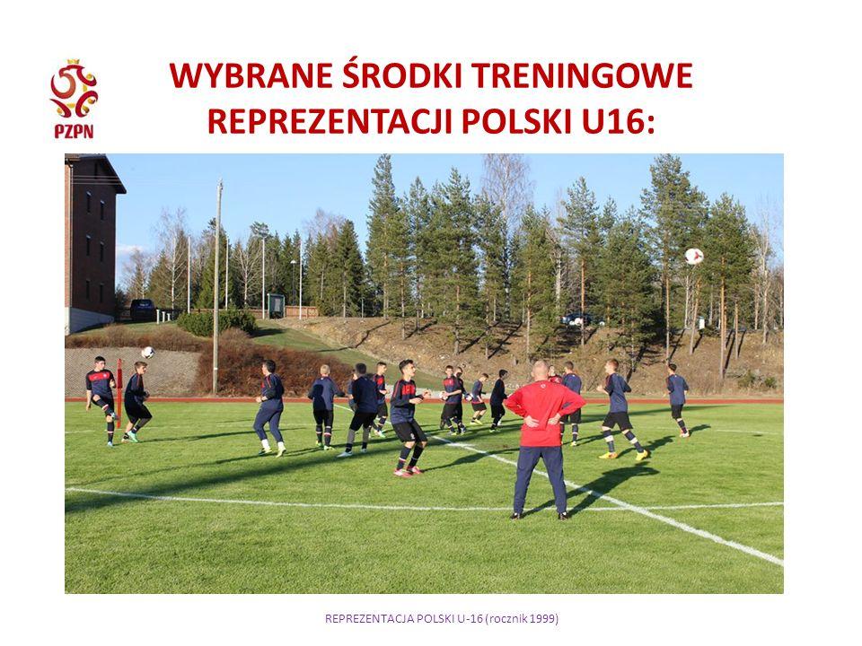 REPREZENTACJA POLSKI U-16 (rocznik 1999) WYBRANE ŚRODKI TRENINGOWE REPREZENTACJI POLSKI U16: