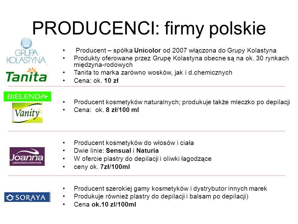 PRODUCENCI: firmy polskie Producent kosmetyków naturalnych; produkuje także mleczko po depilacji Cena: ok. 8 zł/100 ml Producent – spółka Unicolor od