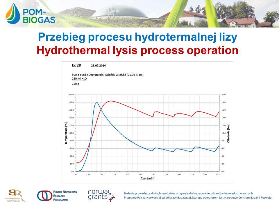 Przebieg procesu hydrotermalnej lizy Hydrothermal lysis process operation