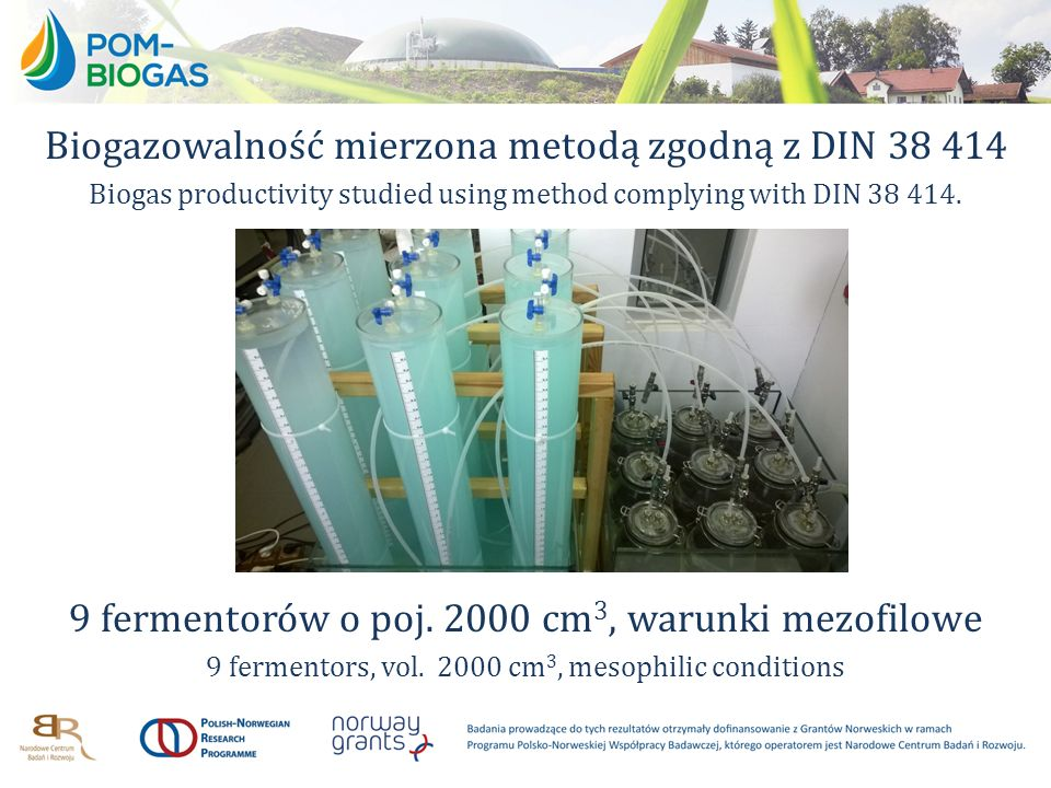 Biogazowalność mierzona metodą zgodną z DIN 38 414 Biogas productivity studied using method complying with DIN 38 414. 9 fermentorów o poj. 2000 cm 3,