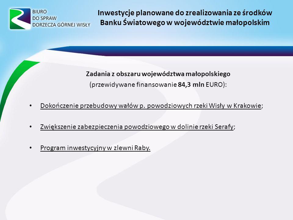 Inwestycje planowane do zrealizowania ze środków Banku Światowego w województwie małopolskim Zadania z obszaru województwa małopolskiego (przewidywane finansowanie 84,3 mln EURO): Dokończenie przebudowy wałów p.