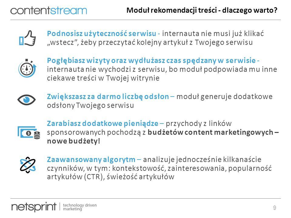 """artur.banach@netsprint.eu9 Podnosisz użyteczność serwisu - internauta nie musi już klikać """"wstecz , żeby przeczytać kolejny artykuł z Twojego serwisu Pogłębiasz wizyty oraz wydłużasz czas spędzany w serwisie - internauta nie wychodzi z serwisu, bo moduł podpowiada mu inne ciekawe treści w Twojej witrynie Zwiększasz za darmo liczbę odsłon – moduł generuje dodatkowe odsłony Twojego serwisu Zarabiasz dodatkowe pieniądze – przychody z linków sponsorowanych pochodzą z budżetów content marketingowych – nowe budżety."""