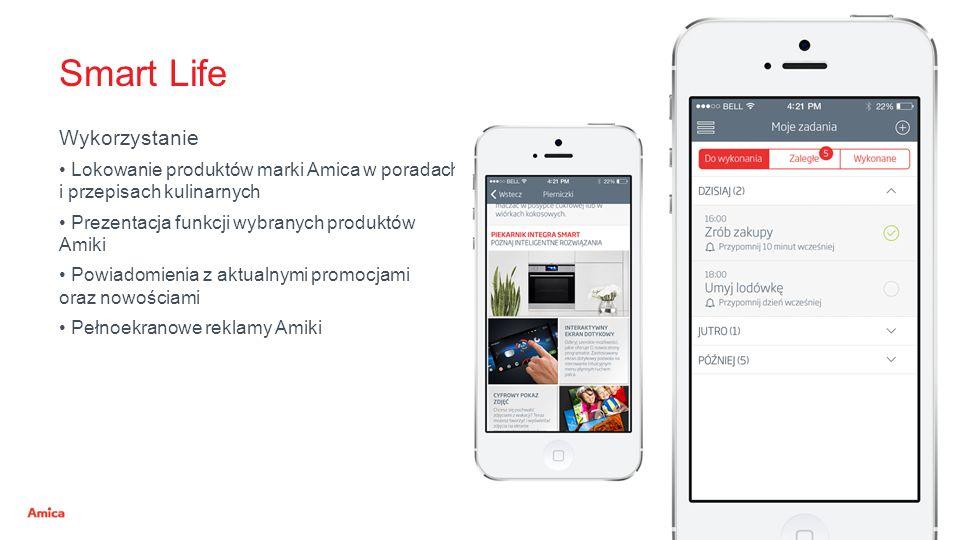 Smart Life Wykorzystanie Lokowanie produktów marki Amica w poradach i przepisach kulinarnych Prezentacja funkcji wybranych produktów Amiki Powiadomien