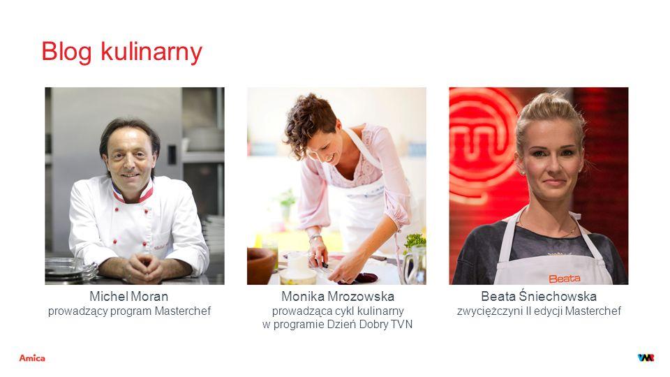 Blog kulinarny Michel Moran prowadzący program Masterchef Monika Mrozowska prowadząca cykl kulinarny w programie Dzień Dobry TVN Beata Śniechowska zwy
