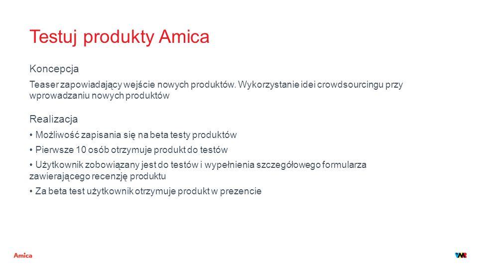 Testuj produkty Amica Koncepcja Teaser zapowiadający wejście nowych produktów. Wykorzystanie idei crowdsourcingu przy wprowadzaniu nowych produktów Re
