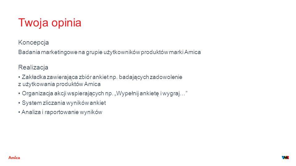 Twoja opinia Koncepcja Badania marketingowe na grupie użytkowników produktów marki Amica Realizacja Zakładka zawierająca zbiór ankiet np. badających z