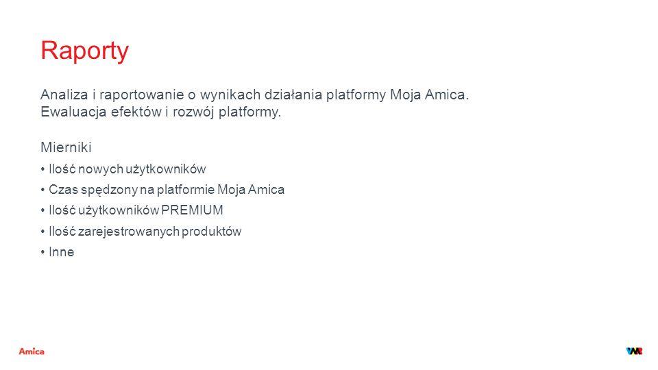 Raporty Analiza i raportowanie o wynikach działania platformy Moja Amica. Ewaluacja efektów i rozwój platformy. Mierniki Ilość nowych użytkowników Cza