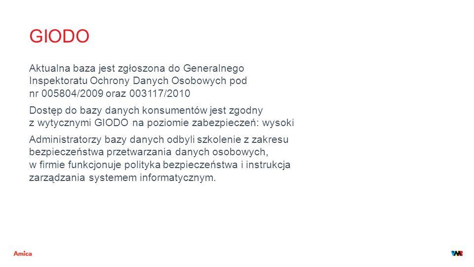 GIODO Aktualna baza jest zgłoszona do Generalnego Inspektoratu Ochrony Danych Osobowych pod nr 005804/2009 oraz 003117/2010 Dostęp do bazy danych kons