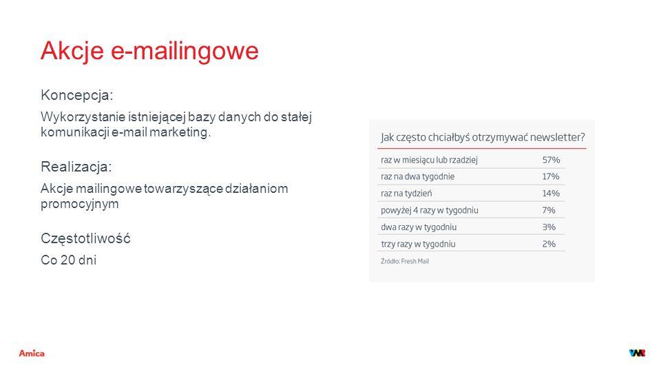Akcje e-mailingowe Koncepcja: Wykorzystanie istniejącej bazy danych do stałej komunikacji e-mail marketing. Realizacja: Akcje mailingowe towarzyszące