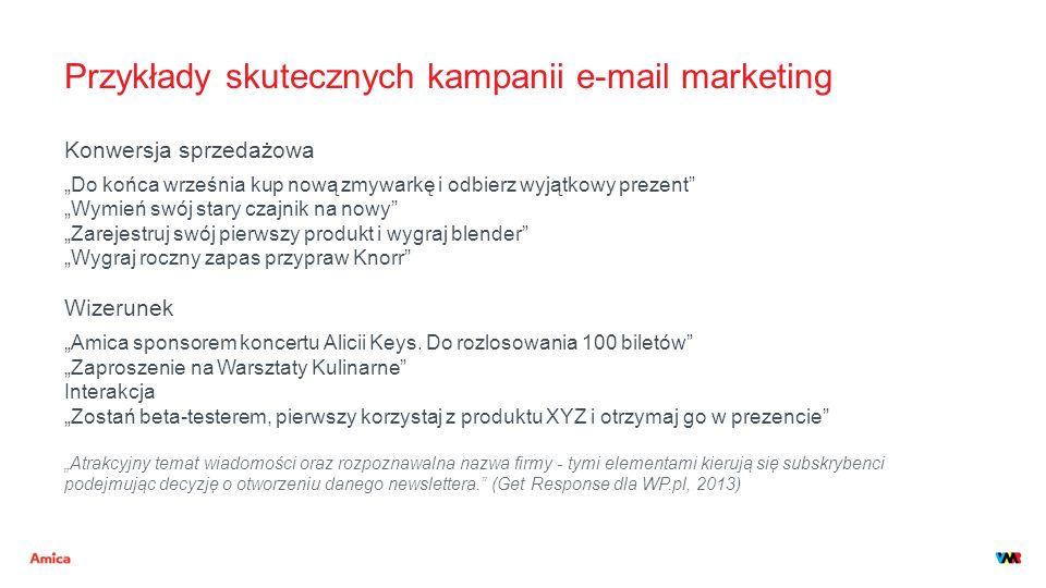 """Przykłady skutecznych kampanii e-mail marketing Konwersja sprzedażowa """"Do końca września kup nową zmywarkę i odbierz wyjątkowy prezent"""" """"Wymień swój s"""