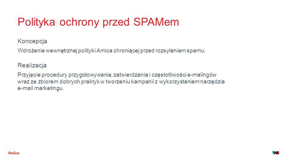 Polityka ochrony przed SPAMem Koncepcja Wdrożenie wewnętrznej polityki Amica chroniącej przed rozsyłaniem spamu. Realizacja Przyjęcie procedury przygo