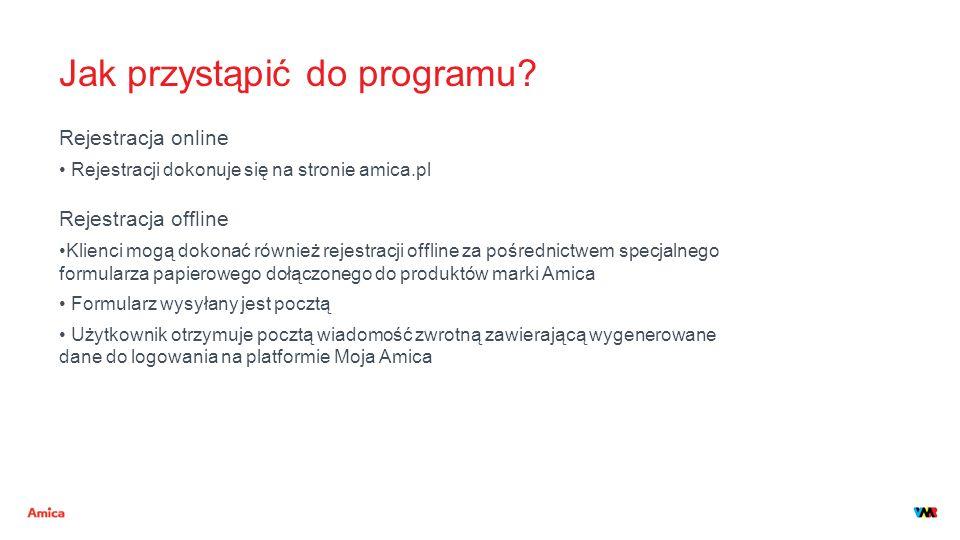 Jak przystąpić do programu? Rejestracja online Rejestracji dokonuje się na stronie amica.pl Rejestracja offline Klienci mogą dokonać również rejestrac