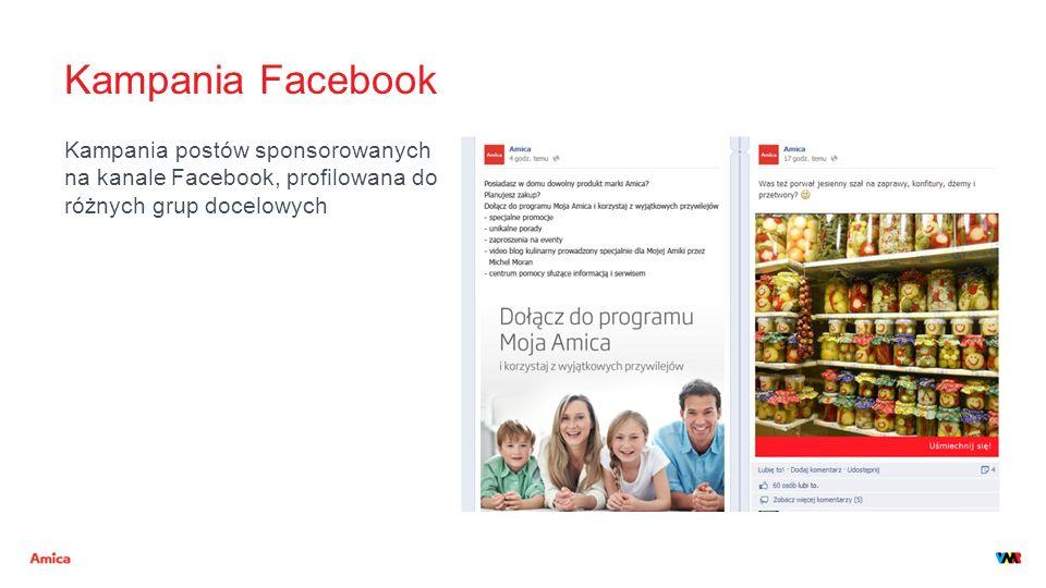 Kampania Facebook Kampania postów sponsorowanych na kanale Facebook, profilowana do różnych grup docelowych