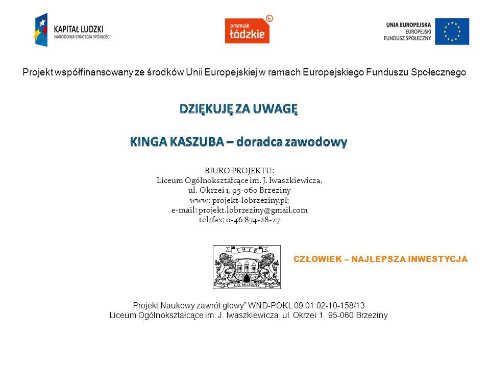 Projekt współfinansowany ze środków Unii Europejskiej w ramach Europejskiego Funduszu Społecznego CZŁOWIEK – NAJLEPSZA INWESTYCJA Projekt Naukowy zawr