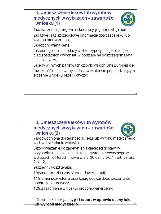 3. Umieszczenie leków lub wyrobów medycznych w wykazach – zawartość wniosku (1) 1)oznaczenie (firmę) wnioskodawcy, jego siedzibę i adres; 2)nazwę oraz
