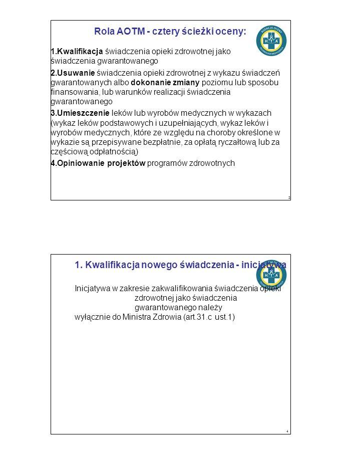 Rola AOTM - cztery ścieżki oceny: 1.Kwalifikacja świadczenia opieki zdrowotnej jako świadczenia gwarantowanego 2.Usuwanie świadczenia opieki zdrowotnej z wykazu świadczeń gwarantowanych albo dokonanie zmiany poziomu lub sposobu finansowania, lub warunków realizacji świadczenia gwarantowanego 3.Umieszczenie leków lub wyrobów medycznych w wykazach (wykaz leków podstawowych i uzupełniających, wykaz leków i wyrobów medycznych, które ze względu na choroby określone w wykazie są przepisywane bezpłatnie, za opłatą ryczałtową lub za częściową odpłatnością) 4.Opiniowanie projektów programów zdrowotnych 3 1.