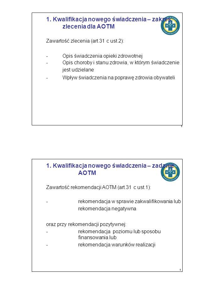 1. Kwalifikacja nowego świadczenia – zakres zlecenia dla AOTM Zawartość zlecenia (art.31 c ust.2): -Opis świadczenia opieki zdrowotnej -Opis choroby i