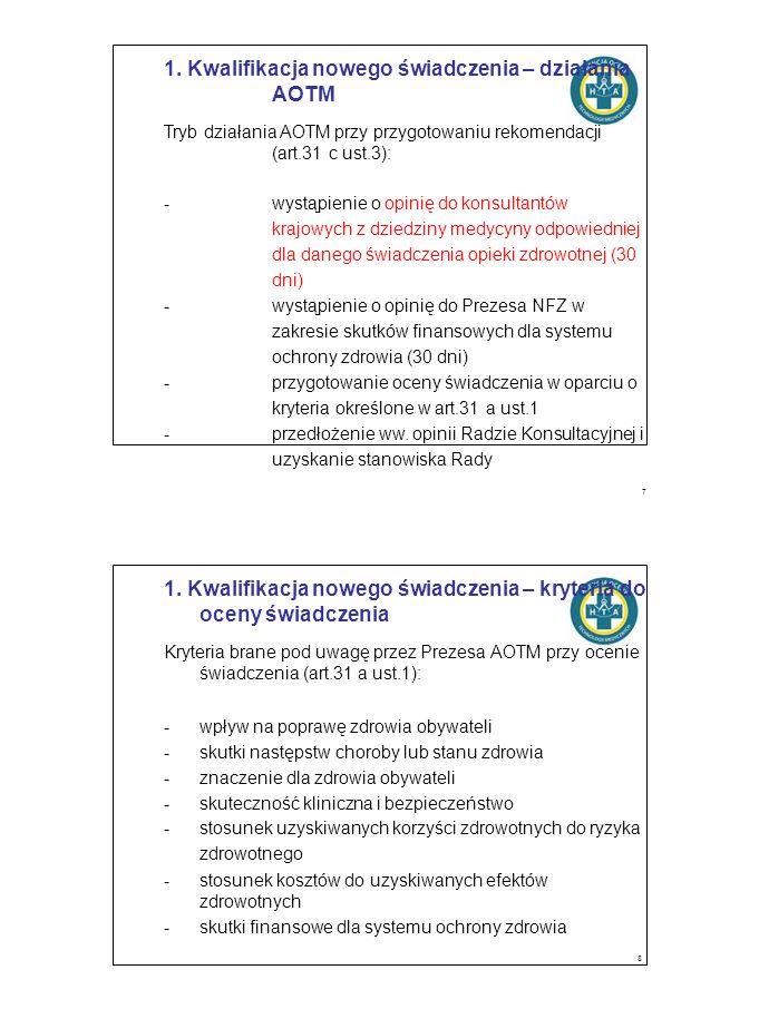 1. Kwalifikacja nowego świadczenia – działania AOTM Tryb działania AOTM przy przygotowaniu rekomendacji (art.31 c ust.3): -wystąpienie o opinię do kon
