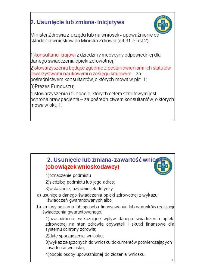2. Usunięcie lub zmiana- inicjatywa Minister Zdrowia z urzędu lub na wniosek - upoważnienie do składania wniosków do Ministra Zdrowia (art.31 e.ust.2)