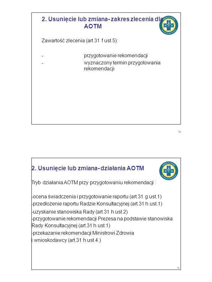 2. Usunięcie lub zmiana- zakres zlecenia dla AOTM Zawartość zlecenia (art.31 f ust.5): -przygotowanie rekomendacji -wyznaczony termin przygotowania re