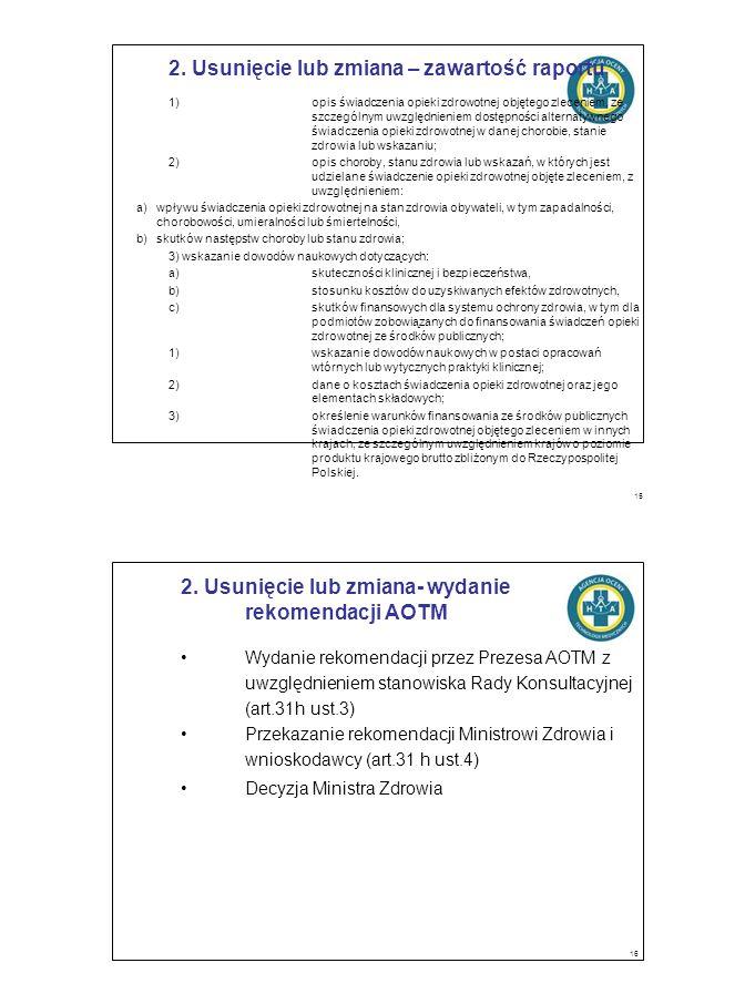 2. Usunięcie lub zmiana – zawartość raportu 1)opis świadczenia opieki zdrowotnej objętego zleceniem, ze szczególnym uwzględnieniem dostępności alterna