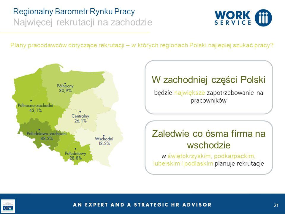 Regionalny Barometr Rynku Pracy Najwięcej rekrutacji na zachodzie 21 W zachodniej części Polski będzie największe zapotrzebowanie na pracowników Zaled