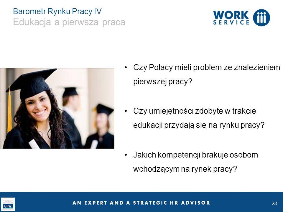 23 Barometr Rynku Pracy IV Edukacja a pierwsza praca Czy Polacy mieli problem ze znalezieniem pierwszej pracy? Czy umiejętności zdobyte w trakcie eduk