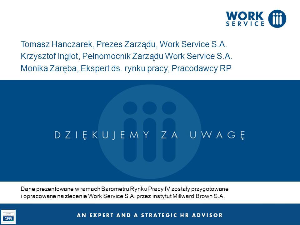 Tomasz Hanczarek, Prezes Zarządu, Work Service S.A. Krzysztof Inglot, Pełnomocnik Zarządu Work Service S.A. Monika Zaręba, Ekspert ds. rynku pracy, Pr