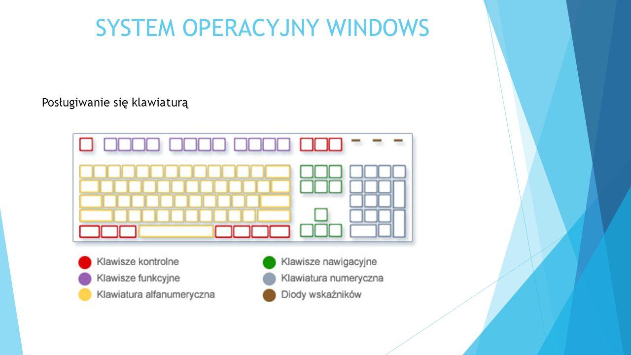 SYSTEM OPERACYJNY WINDOWS Posługiwanie się klawiaturą