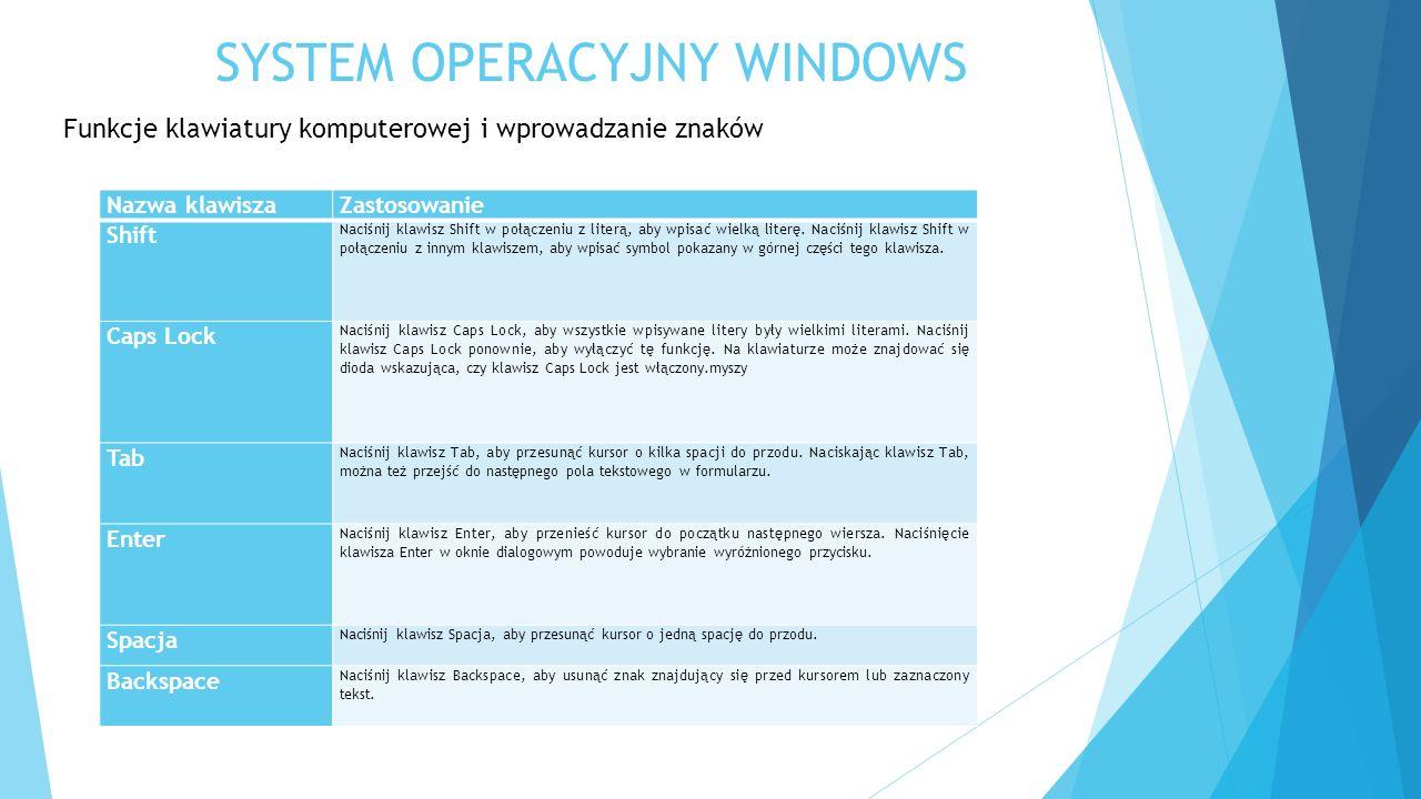 SYSTEM OPERACYJNY WINDOWS Funkcje klawiatury komputerowej i wprowadzanie znaków Nazwa klawiszaZastosowanie Shift Naciśnij klawisz Shift w połączeniu z