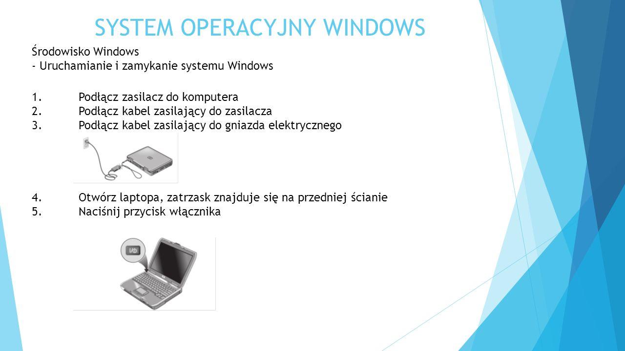 SYSTEM OPERACYJNY WINDOWS Środowisko Windows - Uruchamianie i zamykanie systemu Windows 1.Podłącz zasilacz do komputera 2.Podłącz kabel zasilający do