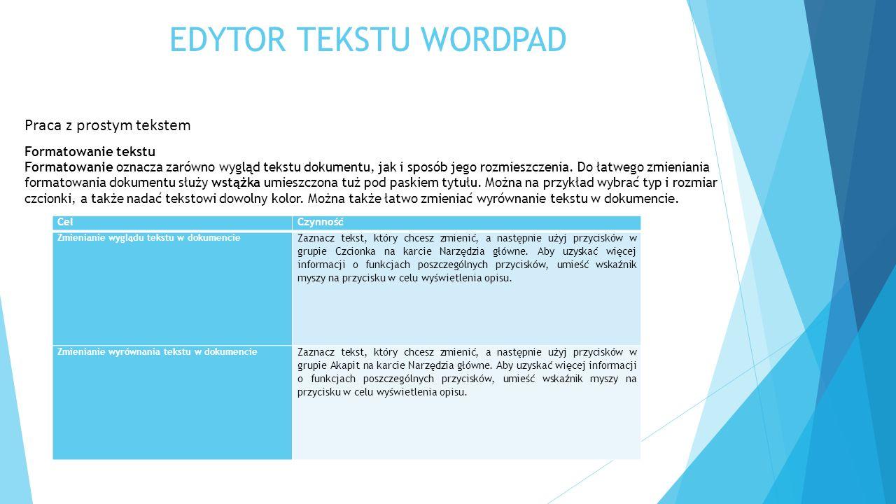 EDYTOR TEKSTU WORDPAD Praca z prostym tekstem Formatowanie tekstu Formatowanie oznacza zarówno wygląd tekstu dokumentu, jak i sposób jego rozmieszczen