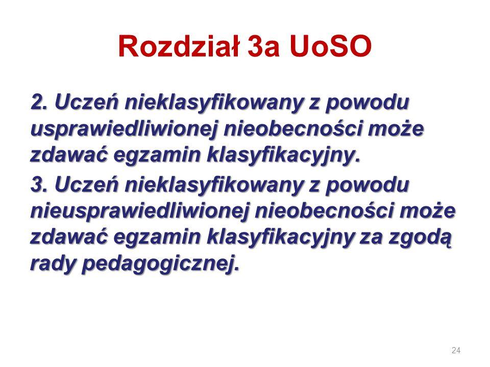 24 Rozdział 3a UoSO 2. Uczeń nieklasyfikowany z powodu usprawiedliwionej nieobecności może zdawać egzamin klasyfikacyjny. 3. Uczeń nieklasyfikowany z