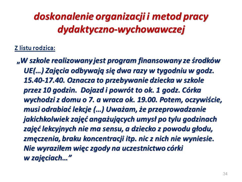 """34 doskonalenie organizacji i metod pracy dydaktyczno-wychowawczej Z listu rodzica: """"W szkole realizowany jest program finansowany ze środków UE(…) Za"""
