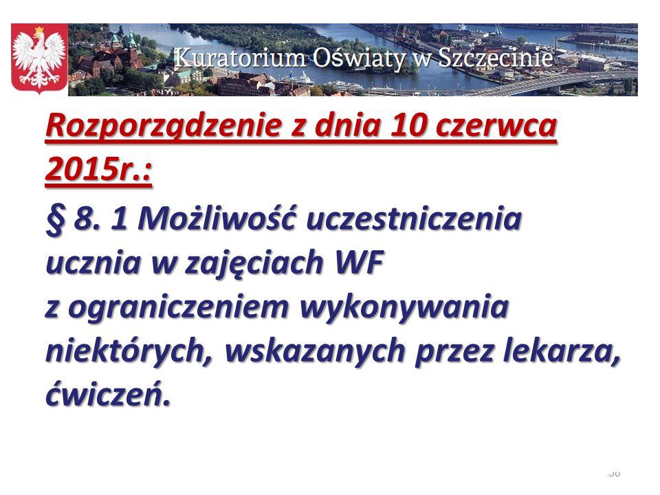 38 Rozporządzenie z dnia 10 czerwca 2015r.: § 8. 1 Możliwość uczestniczenia ucznia w zajęciach WF z ograniczeniem wykonywania niektórych, wskazanych p