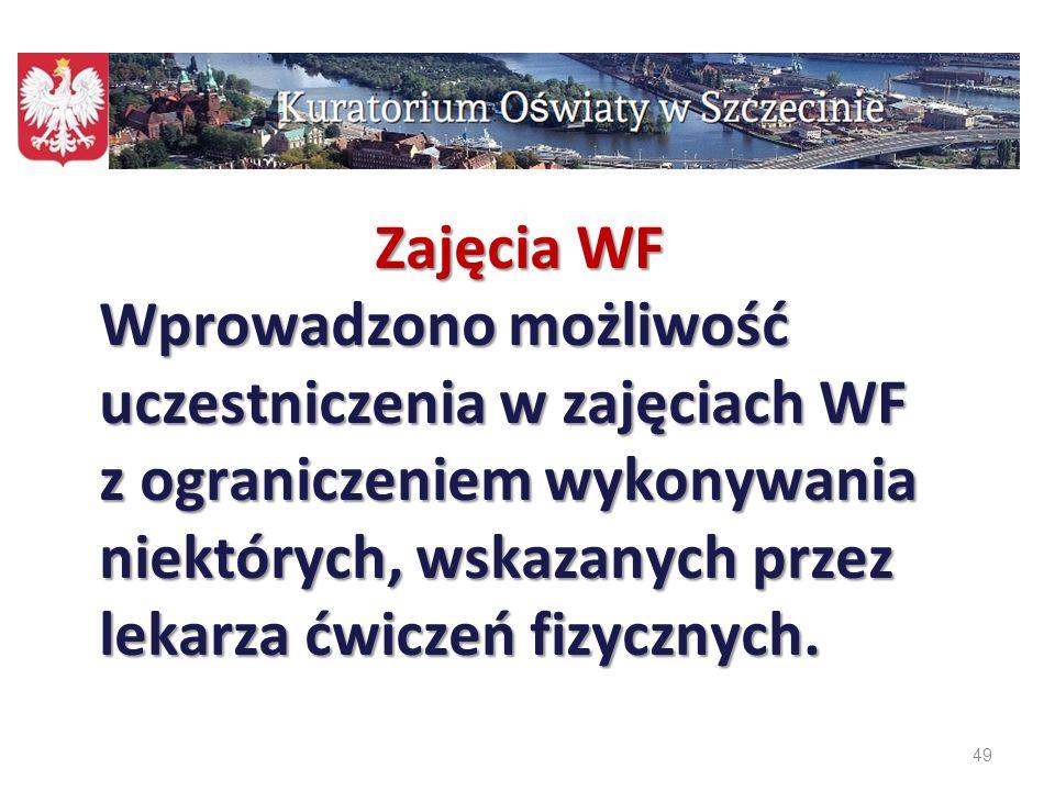 49 Zajęcia WF Wprowadzono możliwość uczestniczenia w zajęciach WF z ograniczeniem wykonywania niektórych, wskazanych przez lekarza ćwiczeń fizycznych.