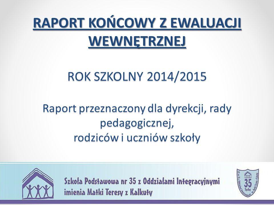 RAPORT KOŃCOWY Z EWALUACJI WEWNĘTRZNEJ ROK SZKOLNY 2014/2015 Raport przeznaczony dla dyrekcji, rady pedagogicznej, rodziców i uczniów szkoły
