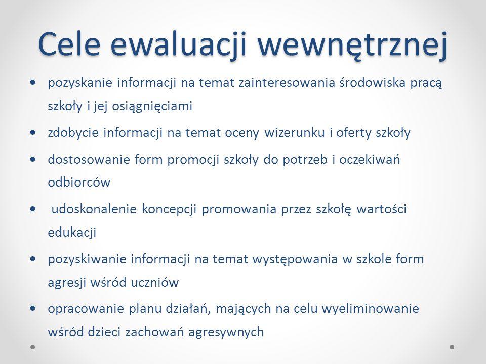 Cele ewaluacji wewnętrznej  pozyskanie informacji na temat zainteresowania środowiska pracą szkoły i jej osiągnięciami  zdobycie informacji na temat