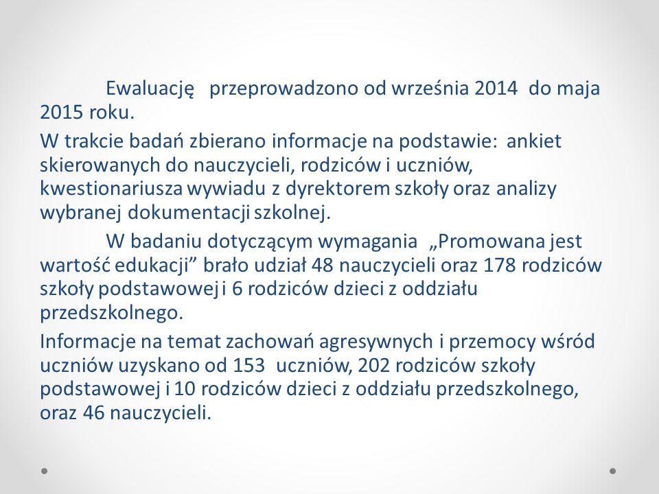 Ewaluację przeprowadzono od września 2014 do maja 2015 roku.