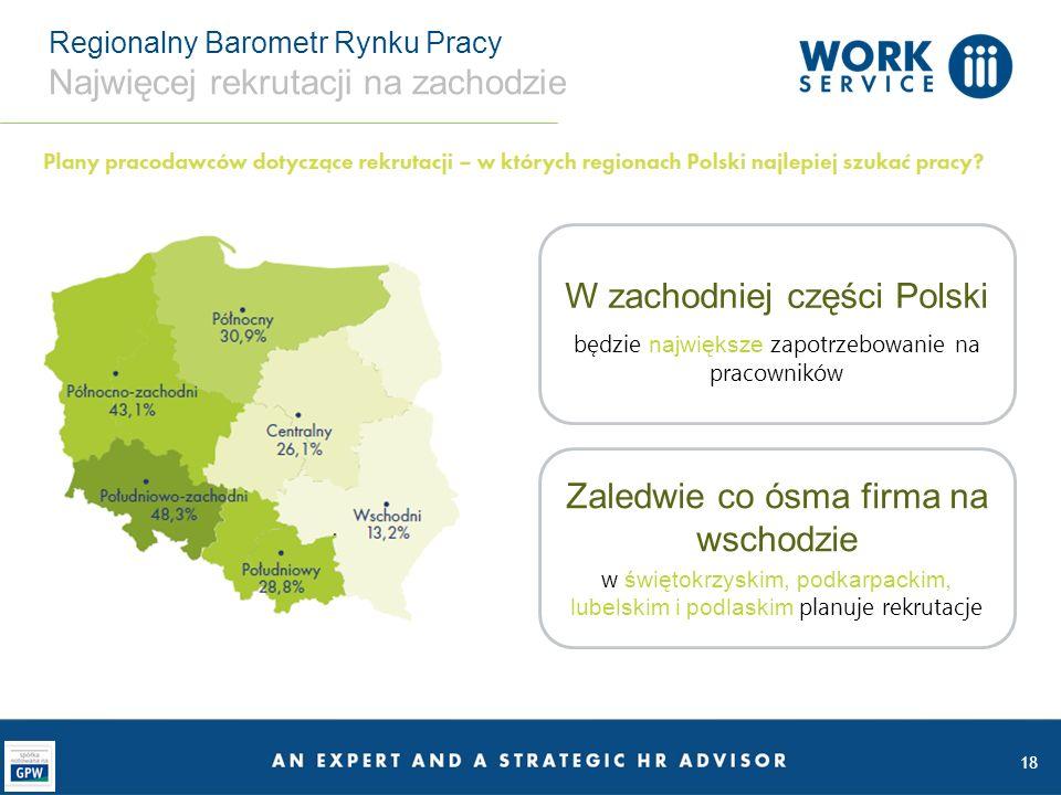 Regionalny Barometr Rynku Pracy Najwięcej rekrutacji na zachodzie 18 W zachodniej części Polski będzie największe zapotrzebowanie na pracowników Zaledwie co ósma firma na wschodzie w świętokrzyskim, podkarpackim, lubelskim i podlaskim planuje rekrutacje