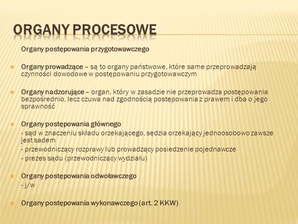 Organy postępowania przygotowawczego  Organy prowadzące – są to organy państwowe, które same przeprowadzają czynności dowodowe w postępowaniu przygot