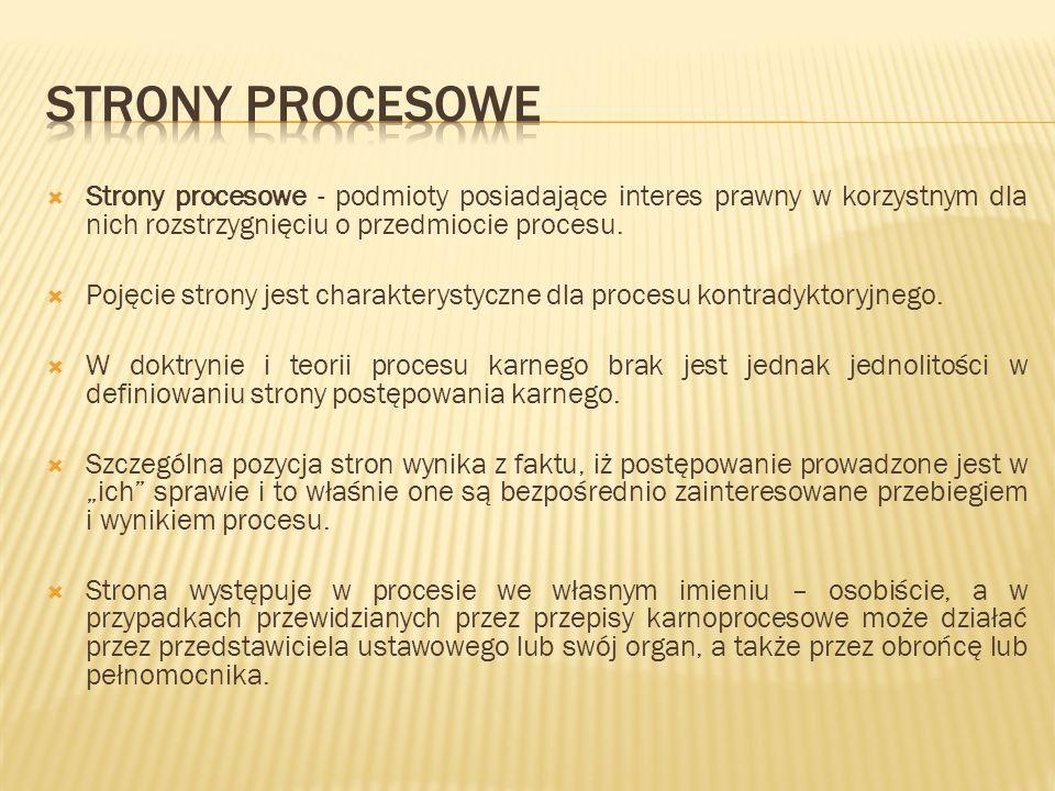 Strony procesowe - podmioty posiadające interes prawny w korzystnym dla nich rozstrzygnięciu o przedmiocie procesu.  Pojęcie strony jest charaktery
