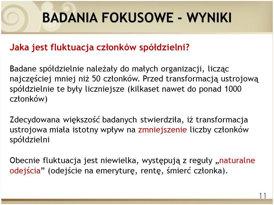 11 BADANIA FOKUSOWE - WYNIKI Jaka jest fluktuacja członków spółdzielni.
