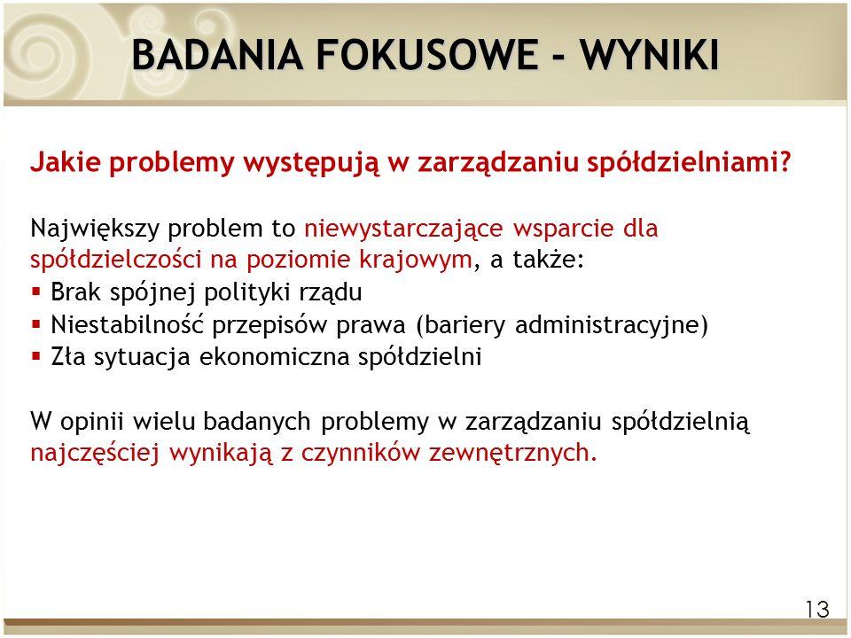 13 BADANIA FOKUSOWE - WYNIKI Jakie problemy występują w zarządzaniu spółdzielniami.