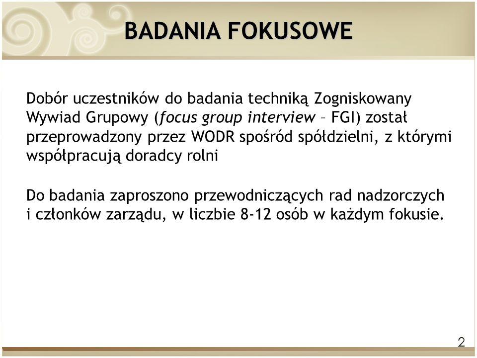 2 BADANIA FOKUSOWE Dobór uczestników do badania techniką Zogniskowany Wywiad Grupowy (focus group interview – FGI) został przeprowadzony przez WODR sp