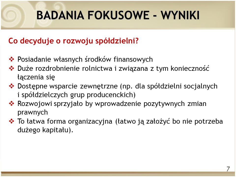 7 BADANIA FOKUSOWE - WYNIKI Co decyduje o rozwoju spółdzielni.