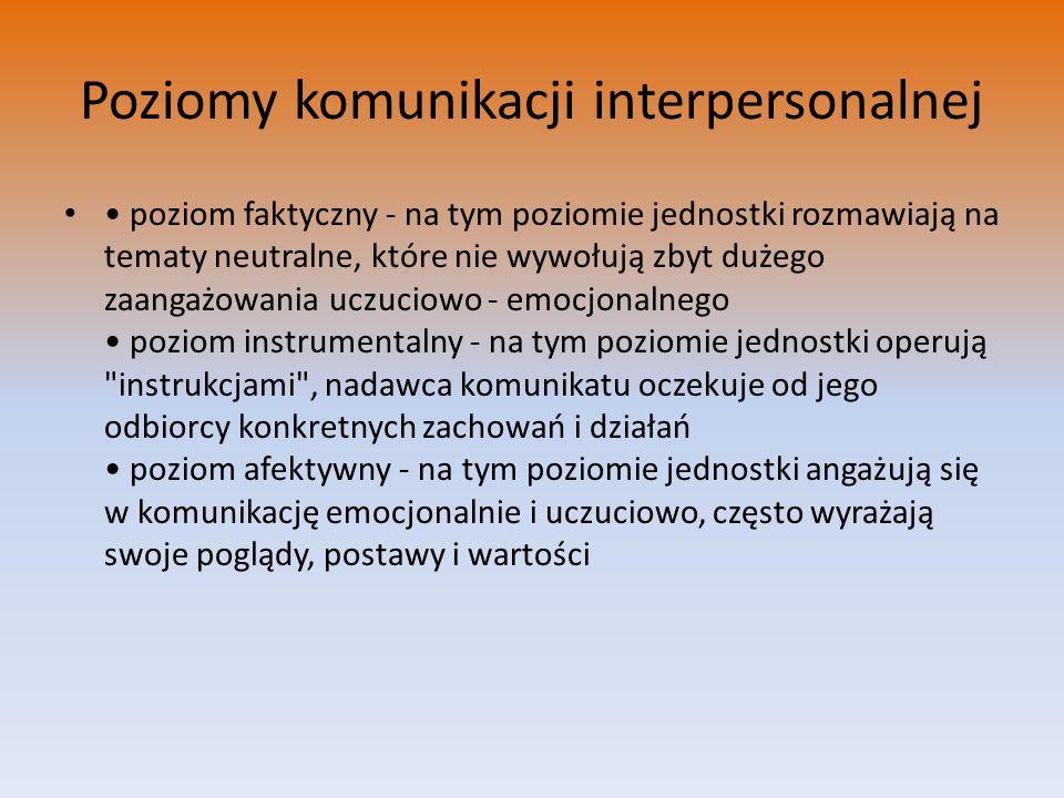 Poziomy komunikacji interpersonalnej poziom faktyczny - na tym poziomie jednostki rozmawiają na tematy neutralne, które nie wywołują zbyt dużego zaang